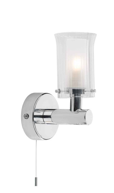Elba Single Polished Chrome and White Opal Glass IP44 Bathroom Wall Light