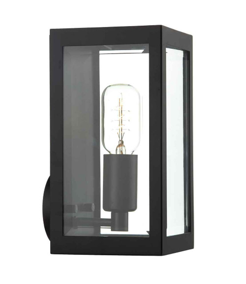 Era Black with Bevelled-Edge Glass IP44 Wall Light