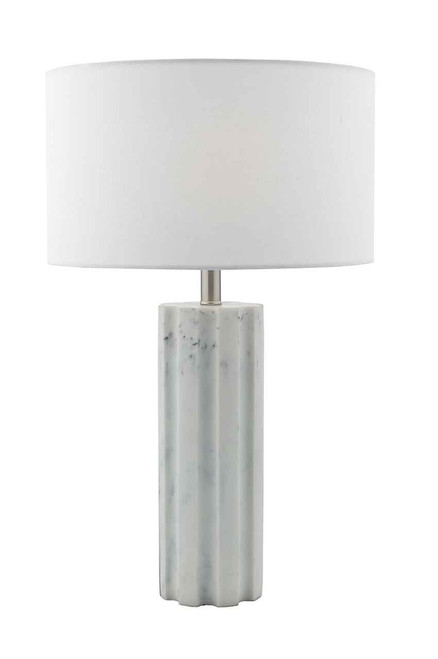 Erebus Stone and Polished Chrome with White Linen Shade Table Lamp