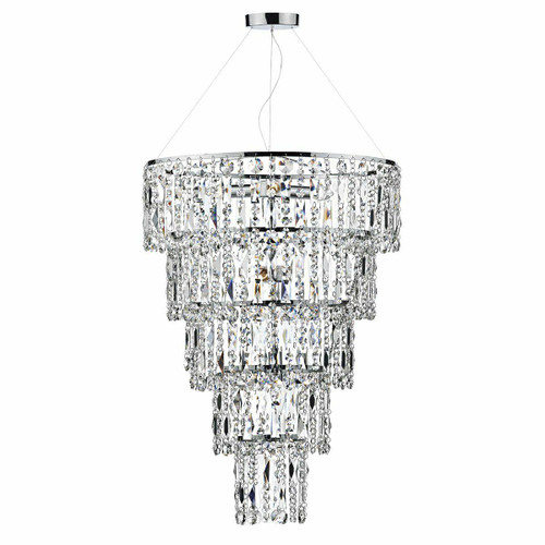 Dar Lighting Escala 6 Light Polished Chrome and Waterfall Crystal Round Pendant Light