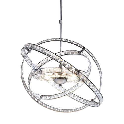 Eternity 10 Light Polished Chrome and Faceted Crystal Pendant Light