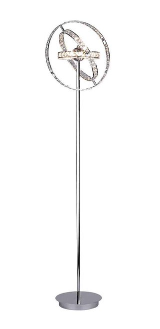 Eternity 6 Light Polished Chrome and Faceted Crystal Floor Lamp