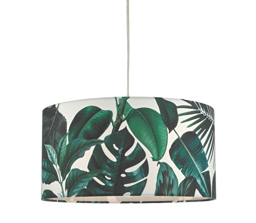 Filip Green Leaf Print Non Electric Easy Fit Pendant Light Shade Only