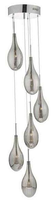 Seta 6 Light Smoked Grey Glass and Polished Chrome Cluster Pendant
