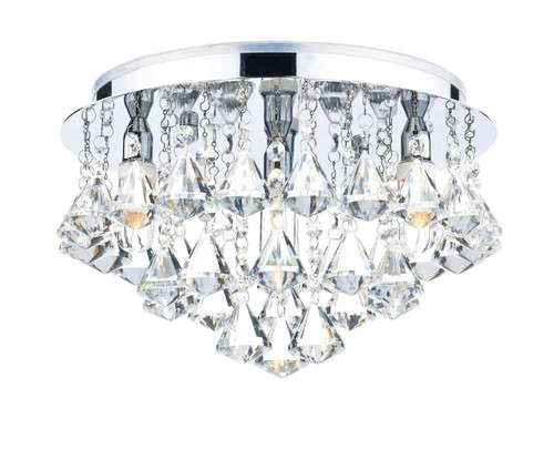 Fringe 4 Light Polished Chrome and Crystal IP44 Flush Ceiling Light