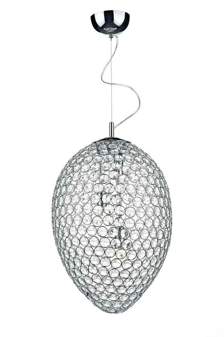 Frost 3 Light Polished Chrome and Crystal Pendant Light