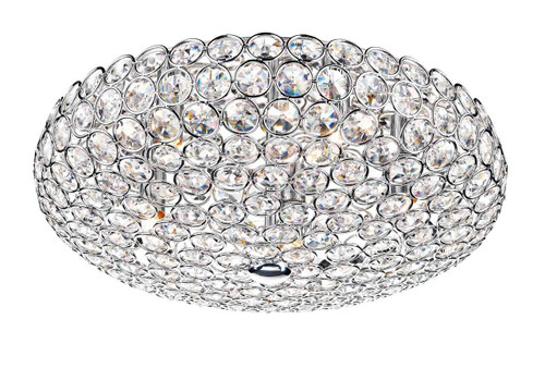 Frost 5 Light Polished Chrome and Crystal Flush Ceiling Light