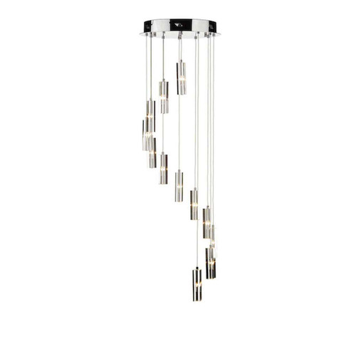 Galileo 12 Light Polished Chrome LED Cluster Pendant Light