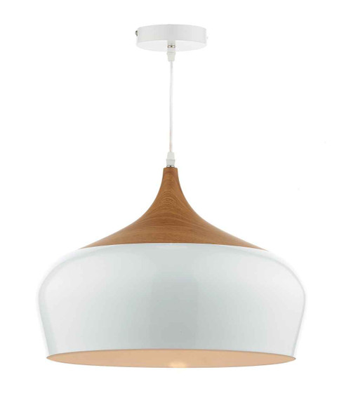 Gaucho White Metal and Wood Large Pendant Light