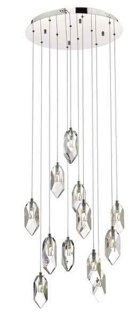 Crystal 12 Light Polished Chrome and Crystal Cluster Pendant Light
