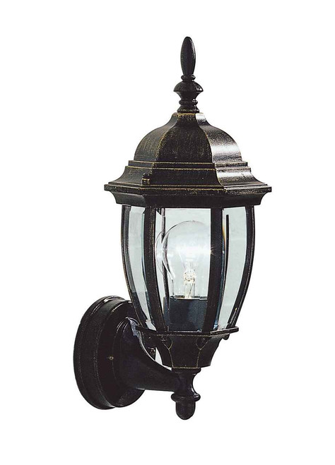 Hambro Uplighter Black Gold IP43 Outdoor Wall Light