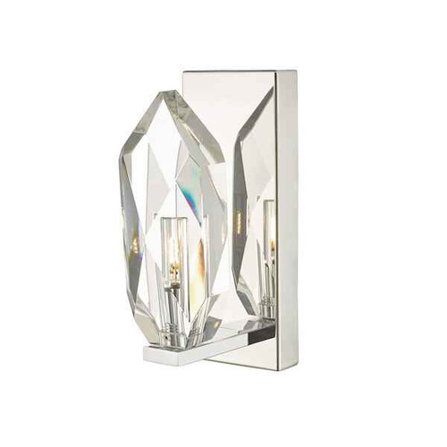 Crystal Polished Chrome and Crystal Wall Light