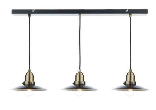 Hannover 3 Light Black Antique Brass Bar Pendant Light