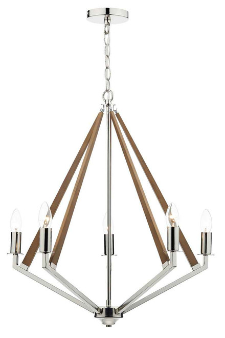 Hotel 5 Light Polished Nickel Wood Pendant Light