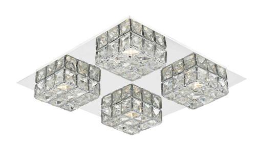 Imogen glass faceted squares Polished Chrome frame LED flush Ceiling Light