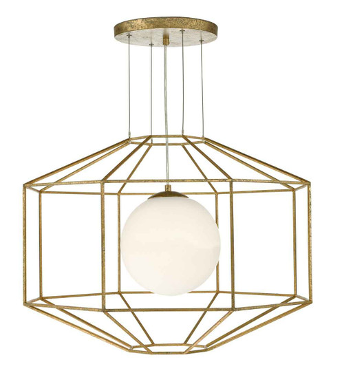 Izmir Hexagonal Old Gold Frame Opal Glass Pendant Light