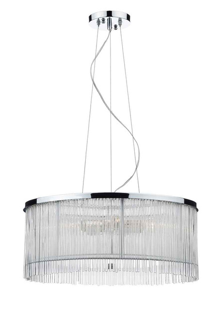 Japan 3 Light White Polished Chrome and Glass Pendant Light
