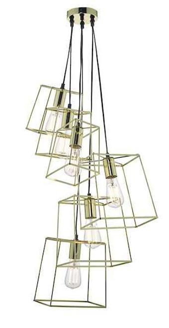 Tower 6 Light Gold Cluster Pendant Light