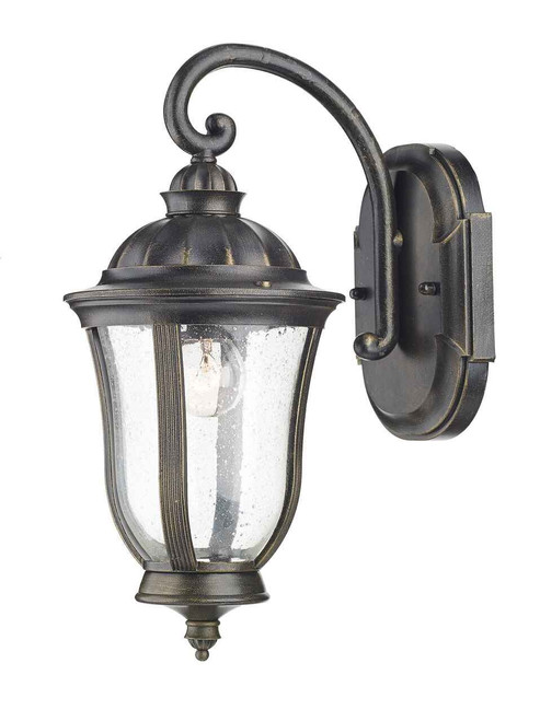 Johnson Black Gold IP44 Outdoor Wall Light Lantern