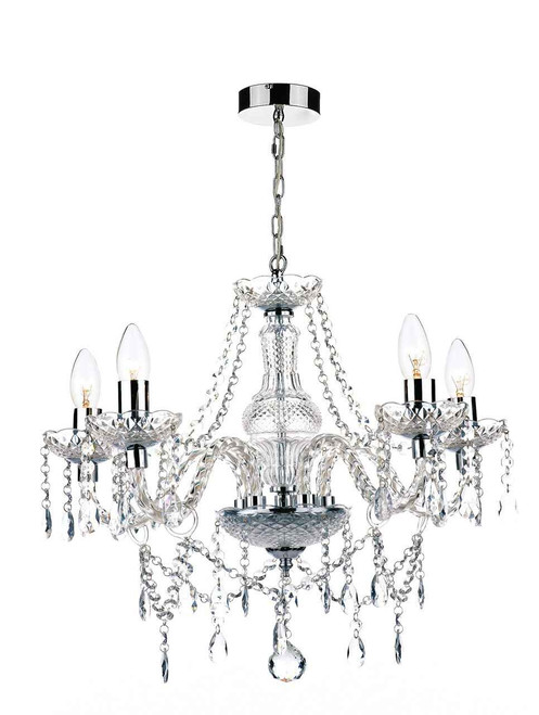 Katie 5 Light Polished Chrome Acrylic Glass Chandelier