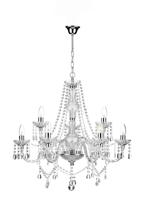 Katie 9 Light Polished Chrome Acrylic Glass Chandelier