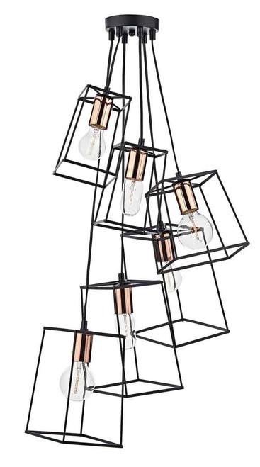Tower 6 Light Black Cluster Pendant Light