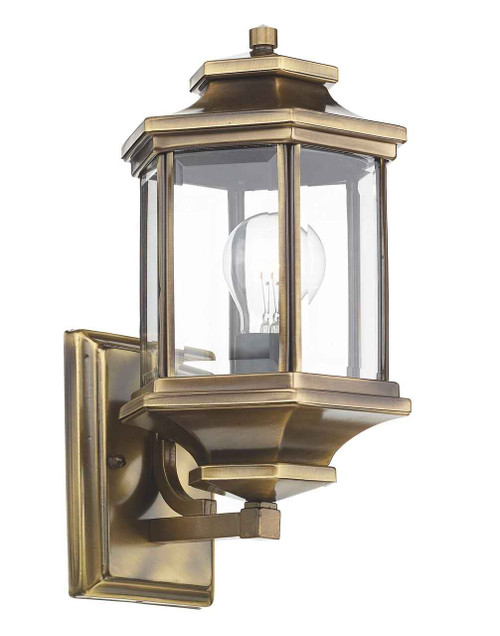 Ladbroke Antique Brass with Bevelled Glass IP44 Outdoor Wall Lantern