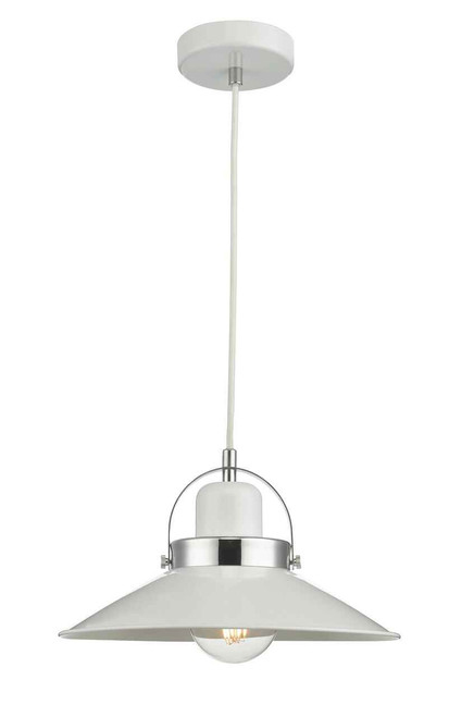 Liden White and Polished Chrome Metal Pendant Light
