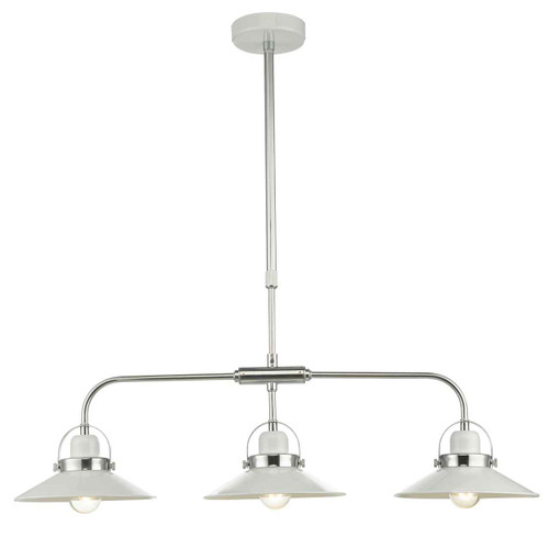 Liden 3 Light White and Polished Chrome Metal Bar Pendant