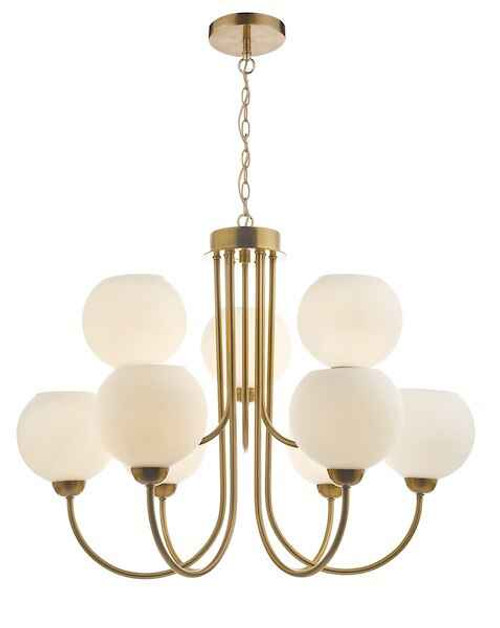 Indra 9 Light Natural Brass With Opal Glass Pendant Light