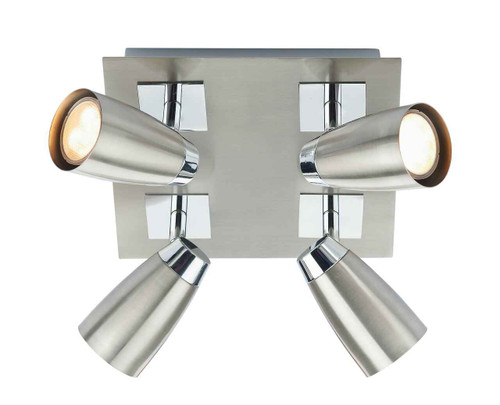 Loft 4 Light Low Energy Square Satin Polished Chrome Ceiling Light Plate