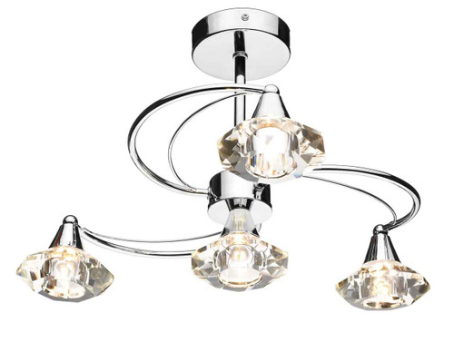 Luther 4 Light Polished Chrome Crystal Semi Flush Ceiling Light