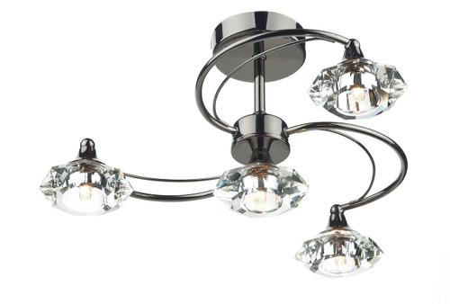Luther 4 Light Black Chrome Crystal Semi Flush Ceiling Light
