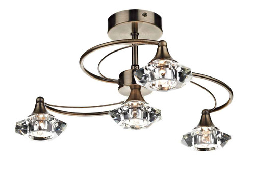 Luther 4 Light Antique Brass Crystal Semi Flush Ceiling Light