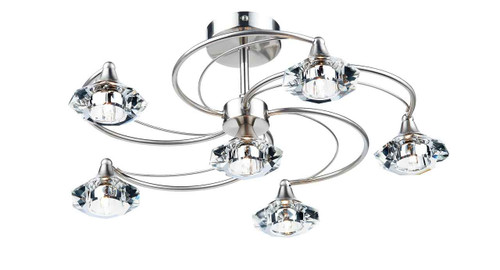 Luther 6 Light Satin Chrome Crystal Semi Flush Ceiling Light