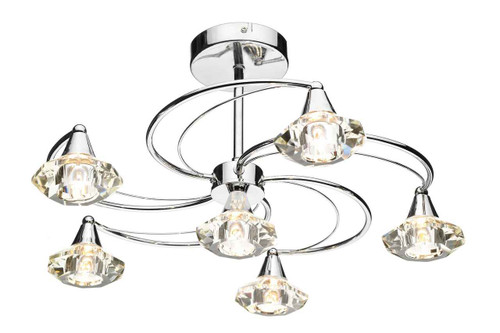 Luther 6 Light Polished Chrome Crystal Semi Flush Ceiling Light