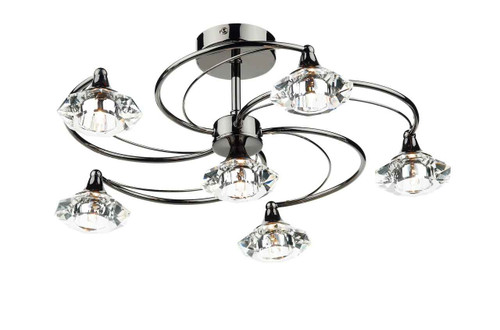 Luther 6 Light Black Chrome Crystal Semi Flush Ceiling Light