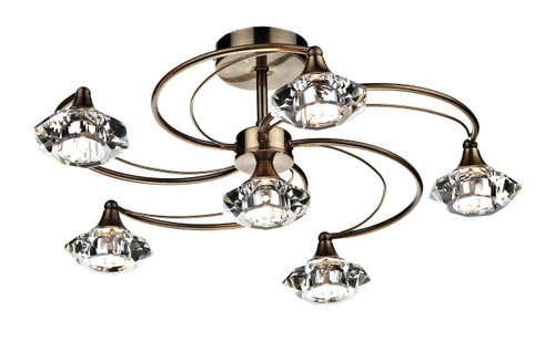 Luther 6 Light Antique Brass Crystal Semi Flush Ceiling Light