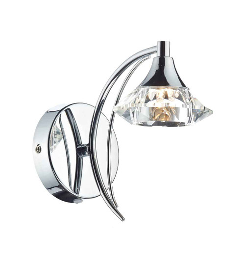 Luther 1 Light Polished Chrome Crystal Wall Light