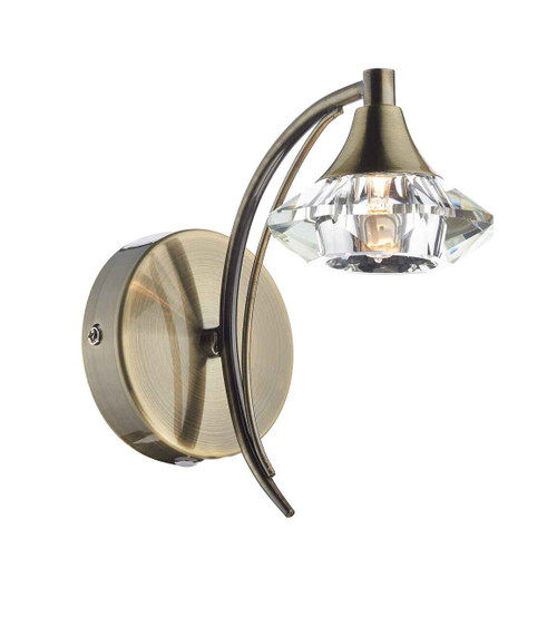 Luther 1 Light  Antique Brass Crystal Wall Light