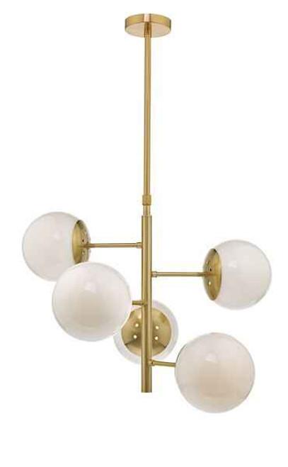 Bombazine 5 Light Natural Brass & Opal Glass Pendant Light