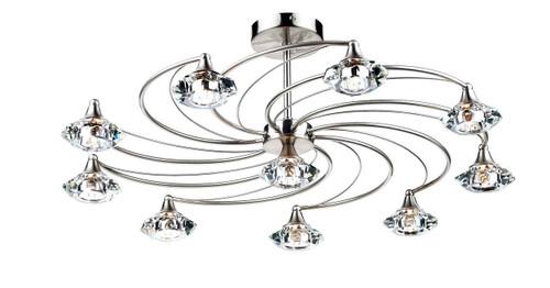 Luther 10 Light Satin Chrome Crystal Semi Flush Ceiling Light