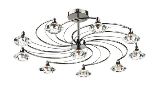 Luther 10 Light Black Chrome Crystal Semi Flush Ceiling Light
