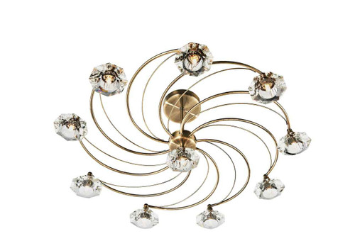 Luther 10 Light Antique Brass Crystal Semi Flush Ceiling Light