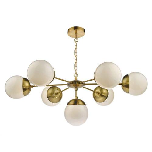 Bombazine 7 Light Natural Brass & White Opal Glass Pendant Light