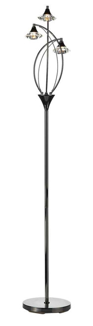 Luther 3 Light Black Chrome Crystal Floor Lamp