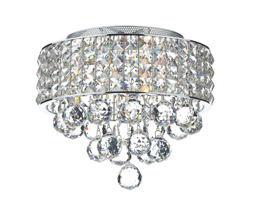 Matrix 3 Light Polished Chrome and Crystal Flush Ceiling Light
