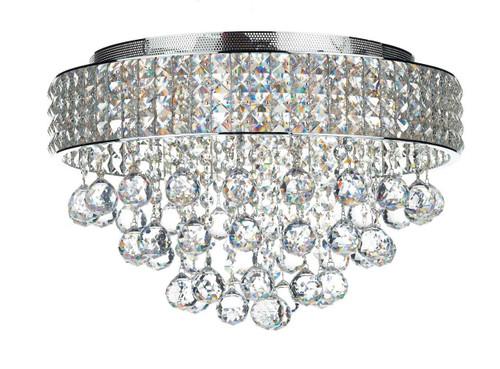 Matrix 5 Light Polished Chrome and Crystal Flush Ceiling Light