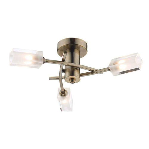 Morgan 3 Light Antique Brass Semi Flush Ceiling Light