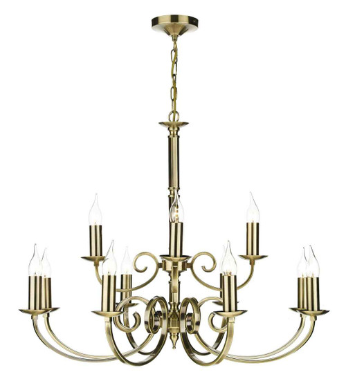 Murray 12 Light Antique Brass Dual Mount Pendant Light